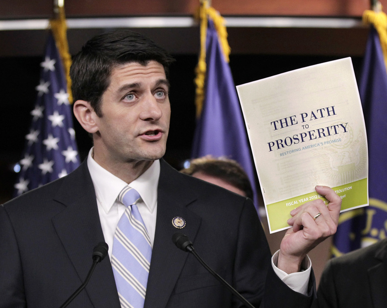 As House Budget Committee chairman, Paul Ryan, R-Wis., touted his 2012 federal budget. Ryan gives Romney a link to Capitol Hill leadership and underscores Romney's effort to make the election a referendum on the nation's economic course.