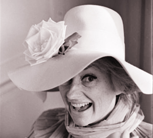 Comedian Phyllis Diller models one of her hundreds of hats in Hollywood, Calif., in a March 1966 photo.