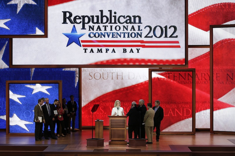 Ann Romney, wife of U.S. Republican presidential candidate Mitt Romney, looks over the main stage during a sound check at the Republican National Convention in Tampa, Fla., on Tuesday, Aug. 28, 2012. (AP Photo/J. Scott Applewhite)