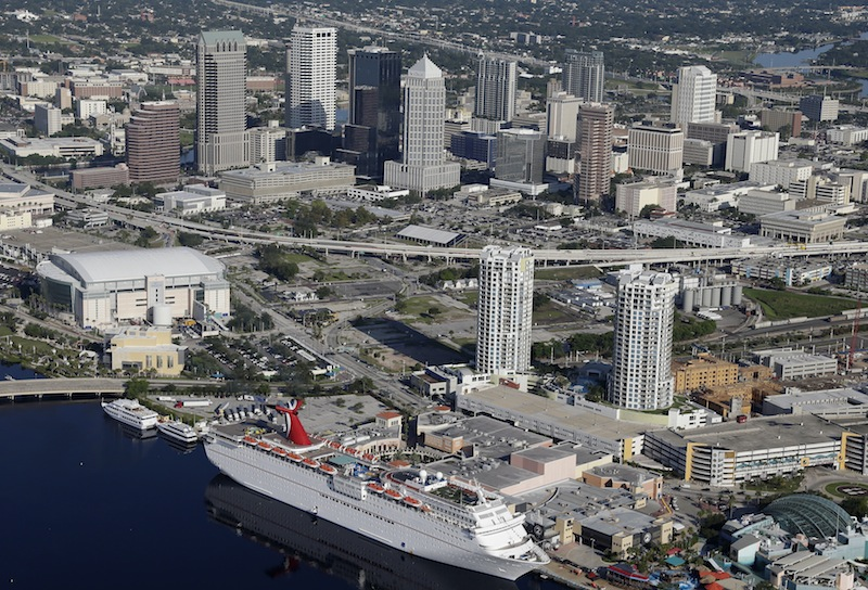 The Tampa, Fla., skyline is shown Thursday, Aug. 16, 2012, in Tampa, Fla., The Tampa Bay Times Forum, left center, is the site of the 2012 Republican National Convention. The Tampa Bay Times Forum is the site of the 2012 Republican National Convention, which will be held the week of August 27. (AP Photo/Chris O'Meara) Republican National Convention Tampa;Fla.;Skyline;2012 RNC