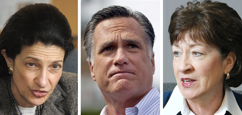Sen. Olympia Snowe, presidential candidate Mitt Romney and Sen. Susan Collins.