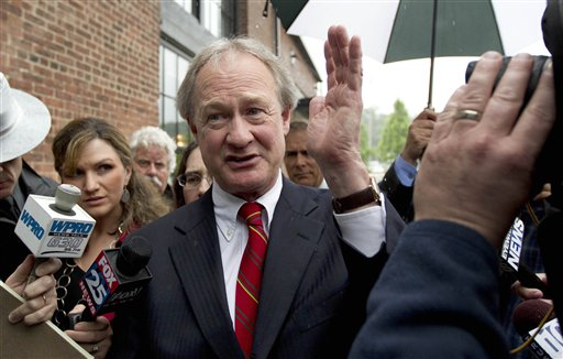 Rhode Island Gov. Lincoln Chafee arrives at the state's Economic Development Corp., headquarters in Providence, R.I., for a May meeting.