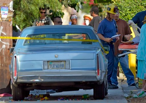 Los Angeles city firefighters attend to victims after a car driven by a 100-year-old went onto a sidewalk and plowed into a group of parents and children outside a South Los Angeles elementary school on Wednesday.