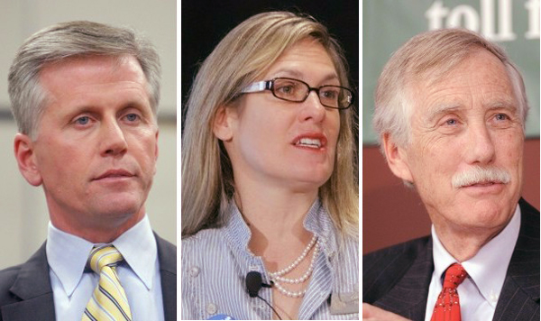 Candidates for the U.S. Senate, from left: Republican Charlie Summers, Democrat Cynthia Dill and Angus King, who is running as an independent.