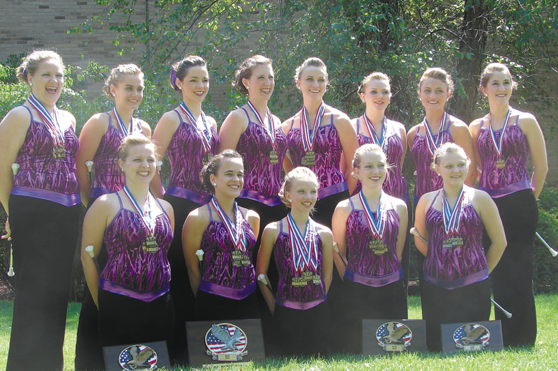 The Main-E-Acts Baton Twirling Team: front, from left, Alicia Tilsley, Molly King, Lindsay Pitts, Sarah Clark and Shauna Hatch; and back, from left, Matteah Hamm, Carley Scanlon, Morgan Sorey, Meagan Sawyer, Megan Williams, Taylor Hickey, Whitney Seymour and Jenna Cross.