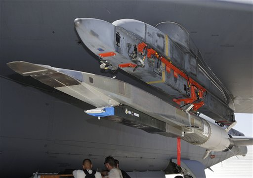 The X-51A WaveRider hypersonic flight test vehicle is attached to a U.S. Air Force B-52 at Edwards Air Force Base.
