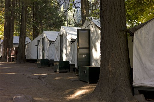 Tent cabins in Curry Village in Yosemite National Park, Calif., that park officials suspect might be linked to a rare rodent-borne disease that has stricken park visitors.
