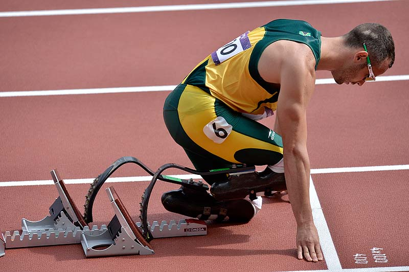 South Africa's Oscar Pistorius prepares to start in a men's 400-meter heat Saturday at the 2012 Summer Olympics in London. Pistorius a double-amputee, reached Sunday's semifinals by finishing second in his heat. 2012 London Olympic Games Summer Olympic games Olympic games Spo