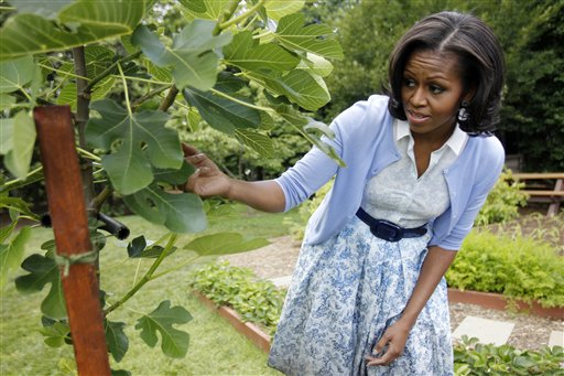 ADVANCE FOR SUNDAY, AUG. 19 AND THEREAFTER - FILE - In this June 5, 2012, file photo, first lady Michelle Obama points out a fig tree as she talks about the White House Kitchen Garden during an interview with The Associated Press, on the South Lawn of the White House in Washington. She is 5-foot-11, and she is world-famous. Sometimes she inspires awe in her admirers. She has been accused of being the angry type. So when Michelle Obama meets people, she likes to bring things down to earth with a hug. (AP Photo/Charles Dharapak, File)