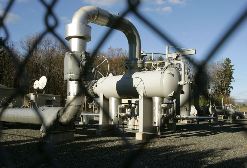 Natural gas pipes rise above ground level in the North American pipeline grid.