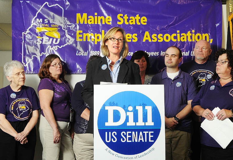 Cynthia Dill, the Democratic nominee, speaks after the Maine State Employees Association SEIU Local 1989, representing more than 15,000 public and private sector workers throughout Maine, announced Tuesday in Augusta that it supports her U.S. Senate campaign.