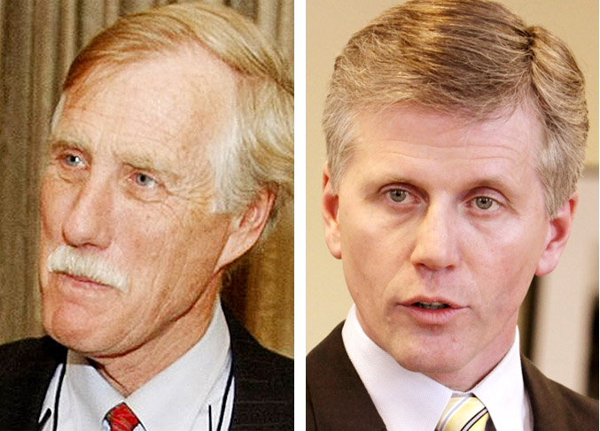 U.S. Senate candidates Angus King, left, and Charlie Summers