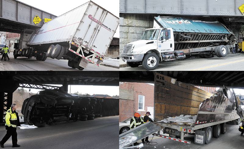 Four truck accidents during the last nine months are seen at the train trestle on Water Street in Augusta. The accidents happened Nov. 14, 2011, bottom right; Jan. 11, 2012, bottom left; Feb. 14, 2012, top left; and July 19, 2012, top right.