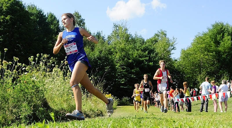 Lawrence's Jilli McAllister was the first female to finish the 2.4 mile course at the Scot Laliberte meet on Friday afternoon at Cony High School in Augusta.