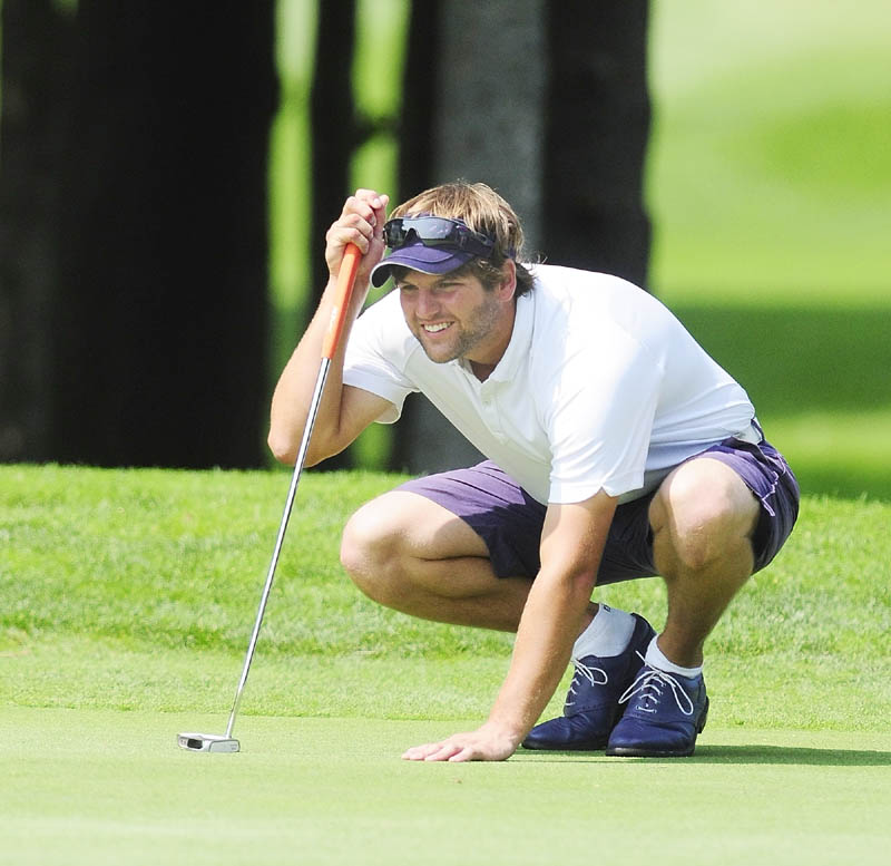 Curt Jordan lines up a putt during final round of the Maine State Golf Association Match Play Championship on Friday on Tomahawk course at Natanis Golf Club in Vassalboro.