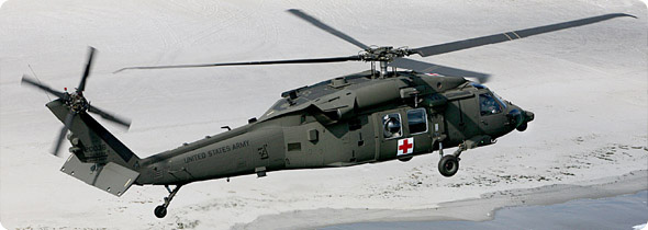The HH-60M Medevac helicopter provides comprehensive medical care from an injury site while enroute to a distant hospital. Onboard systems include environmental control system, oxygen generating system, enroute medical care, suction, patient monitors, and an external electrical rescue hoist.