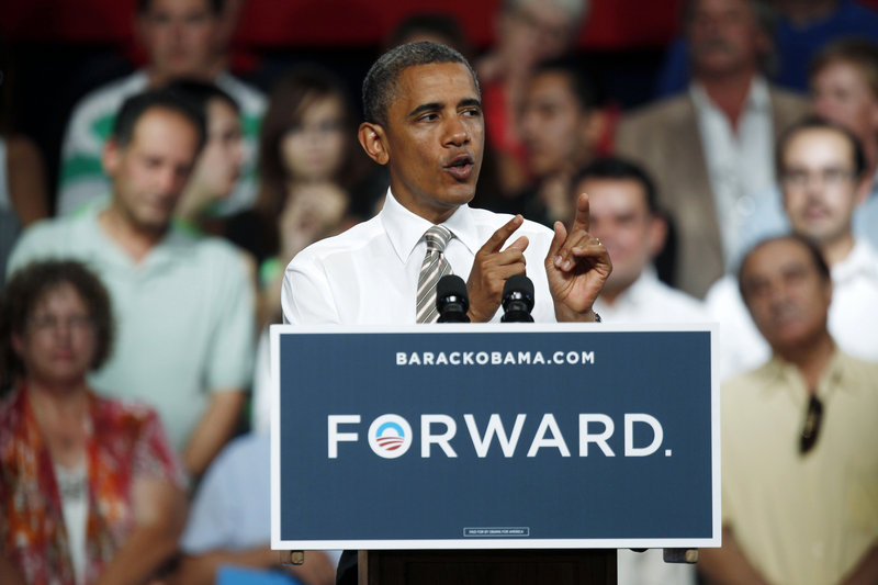 President Obama speaks during a campaign stop at the Colorado State Fairgrounds in Pueblo, Colo., on Thursday.