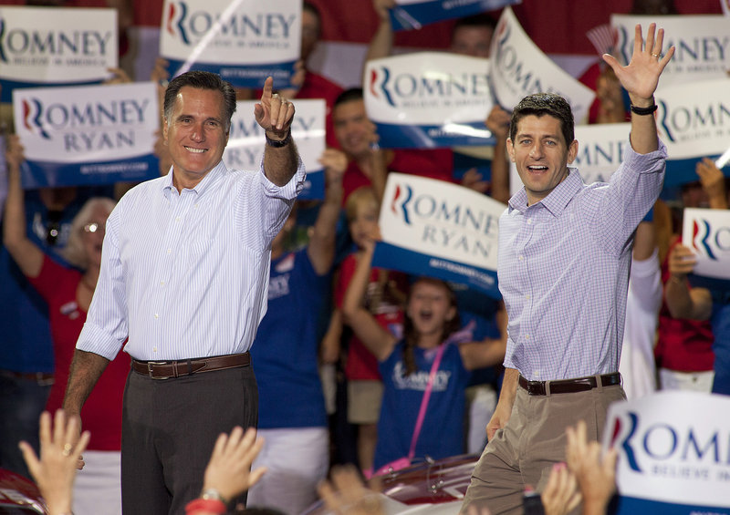 Republican presidential candidate Mitt Romney, left, campaigns with vice presidential running mate Rep. Paul Ryan, R-Wis., in Mooresville, N.C., on Sunday.