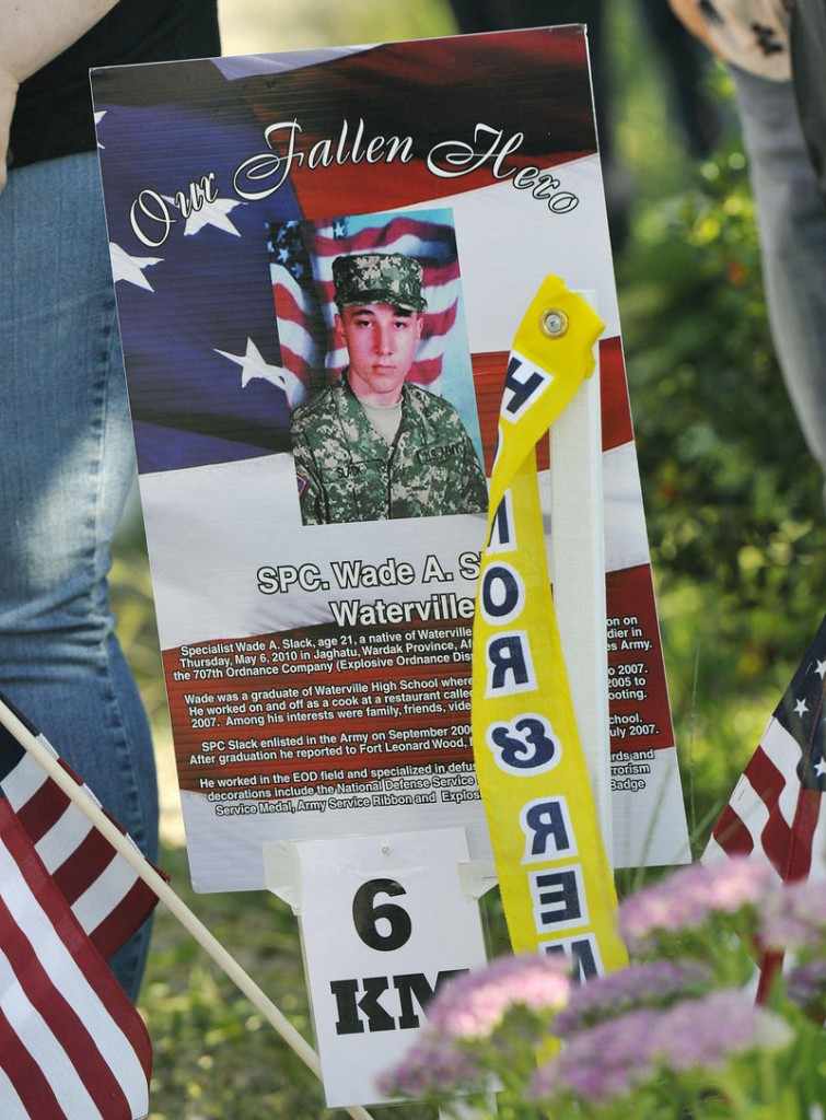 Kilometer six in Wells was dedicated to Army Spc. Wade Slack of Waterville, who died in Afghanistan in 2010.