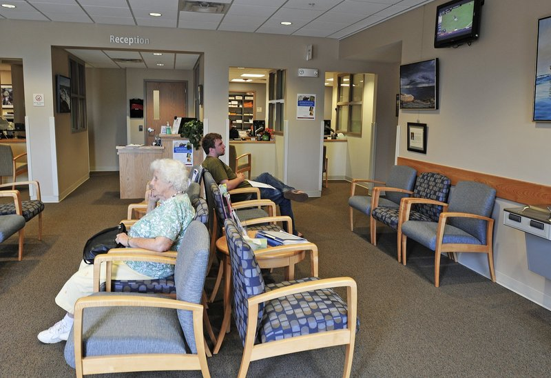 Patients sit in the waiting room at the new Mercy primary care clinic on Route 1 in Yarmouth.