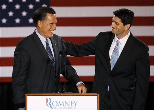 In this April file photo, House Budget Committee Chairman Rep. Paul Ryan, R-Wis. introduces Republican presidential nominee Mitt Romney at a campaign stop. Romney announced Saturday that he has picked Ryan to be his running mate. They will appear together Saturday in Norfolk, Va., at the start of a four-state bus tour to introduce the newly minted GOP ticket to the nation.