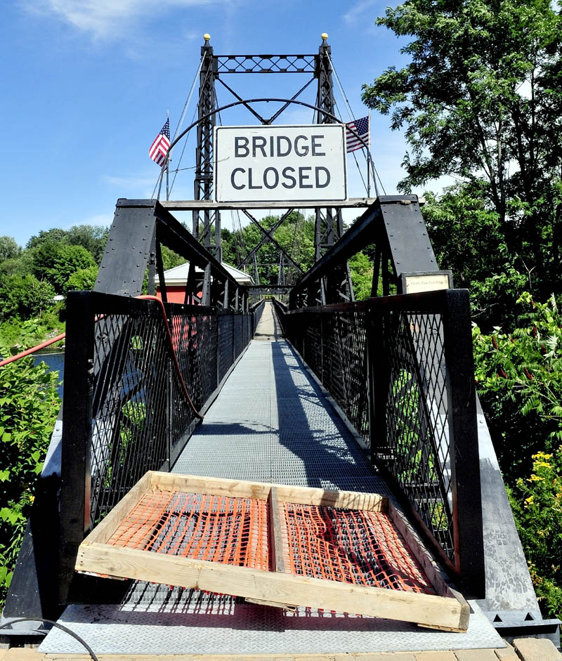 Though closed to foot traffic on Tuesday, officials say the Two-Cent bridge will be open today for the Taste of Greater Waterville event.