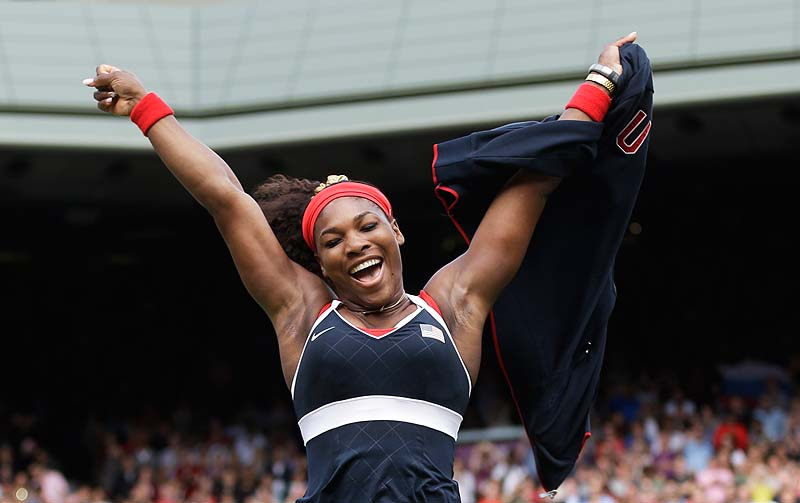Serena Williams of the U.S. celebrates after defeating Maria Sharapova of Russia to win the women's singles gold-medal match at the 2012 Summer Olympics Saturday in London. 2012 London Olympic Games Summer Olympic games Olympic games Spo