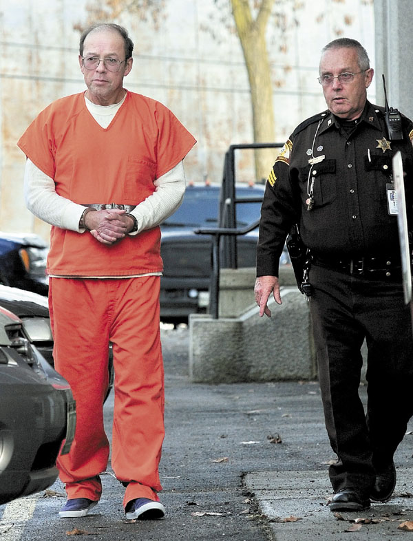 Defendant Jay Mercier leaves Somerset Superior Court in Skowhegan following a Dec. 6, 2011 bail hearing. Jury selection will begin Wednesday in the trial of Mercier for allegedly killing Rita St. Peter, of Anson, in 1980.