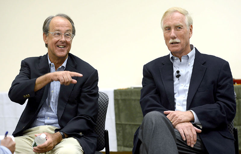 Erskine Bowles, former Clinton chief of staff and chair of the U.S. Debt Reduction Commission, speaks with reporters Sunday along with Angus King at the University of Southern Maine in Portland.