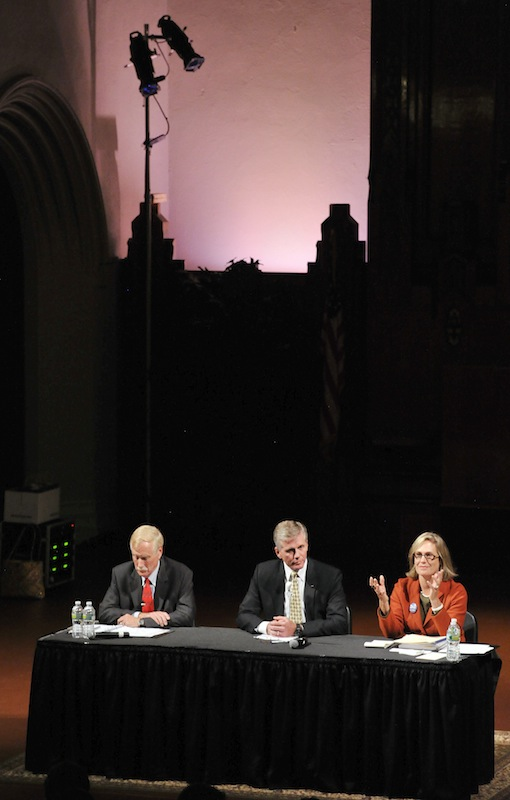 The first multimedia debate in the race for Maine's open U.S. Senate seat was held Monday, Sept. 17, 2012 at the Franco American Heritage Center in Lewiston. Candidates from left: Angus King, Independent, Charlie Summers, Republican, and Cynthia Dill, Democratic.