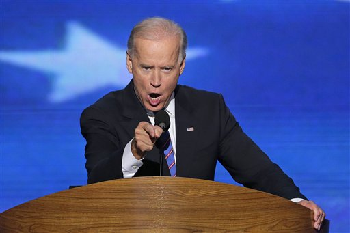 Vice President Joe Biden addresses the Democratic National Convention in Charlotte, N.C., on Thursday, Sept. 6, 2012. (AP Photo/J. Scott Applewhite)