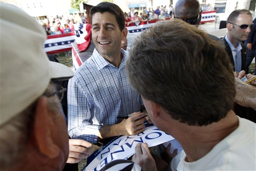 Republican vice presidential candidate, Rep. Paul Ryan, R-Wis. greets supporters during a campaign event at the Dallas County Courthouse, Wednesday, Sept. 5, 2012, in Adel, Iowa. (AP Photo/Mary Altaffer)