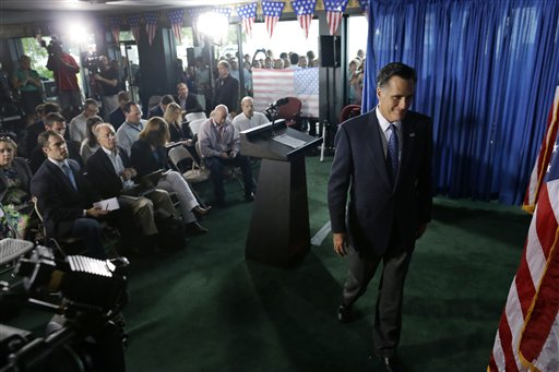 Republican presidential candidate, former Massachusetts Gov. Mitt Romney leaves the podium after making comments on the killing of U.S. embassy officials in Benghazi, Libya, Wednesday, Sept. 12, 2012. in Jacksonville, Fla. (AP Photo/Charles Dharapak)