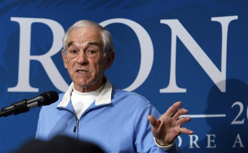 FILE - In this Jan 28, 2012 file photo, Republican presidential candidate Rep. Ron Paul, R-Texas, campaigns at the University of Southern Maine in Gorham, Maine. At a raucous GOP state convention that was taken over by Ron Paul forces, supporters of the libertarian-leaning Texas congressman captured 21 of 24 of Maine's delegate seats to the national convention, set for Aug. 27-30. (AP Photo/Robert F. Bukaty, File)