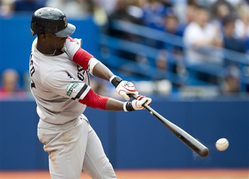 Boston Red Sox's Pedro Ciriaco drives in the game-winning run with an RBI double in the ninth inning of a baseball against the Toronto Blue Jays in Toronto on Saturday, Sept. 15, 2012. The Red Sox won 3-2. Blue Jays;athlete;athletes;athletic;athletics;Canada;Canadian;Center;Centre;competative;compete;competing;competition;competitions;event;game;Jays;League;Major;MLB;pro;professional;Rogers;sport;sporting;sports;Toronto;baseball;American;AL;2012;Blue