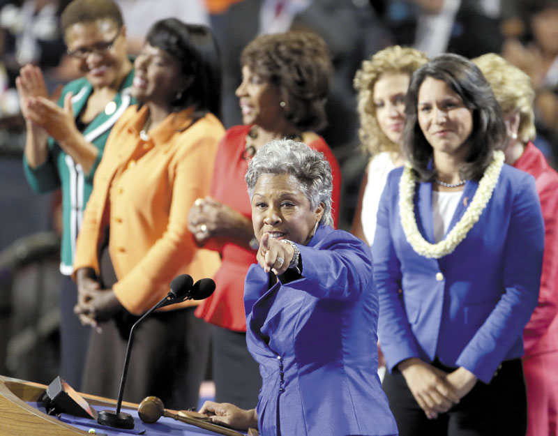Candidate Joyce Beatty, from Ohio, appears with the women from the House of Representatives at the Democratic National Convention in Charlotte, N.C., on Tuesday.