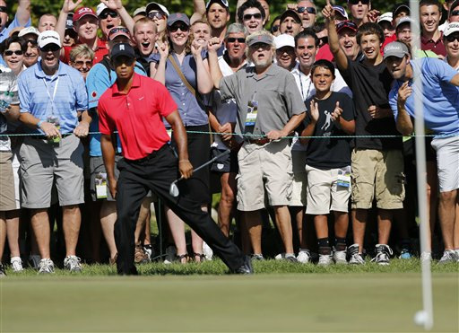 Tiger Woods reacts after his chip onto the green failed to drop into the hole during the final round of the Deutsche Bank Championship PGA golf tournament in Norton, Mass., on Monday.