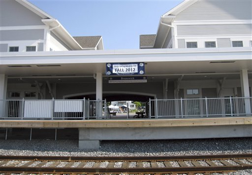 The new station and tracks in Brunswick, which will become the new northern terminus for Amtrak's Downeaster passenger train in November.