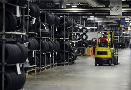 A forklift handles inventory at a Michelin tire manufacturing plant in Greenville, S.C., recently.