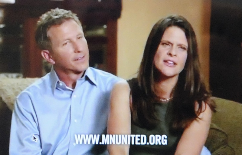 This frame grab taken from YouTube on Tuesday, Sept. 17, 2012 with permission of Minnesotans United for All Families shows John, left, and Kim Canny, Catholic Republicans from Savage, Minn., in a commercial in which they say they oppose a proposed constitutional amendment this November that would ban gay marriage. Like almost all the subjects of ads in favor of gay marriage, the Cannys are straight. Some gay activists question an ad strategy that rarely puts actual gay people on camera, saying it contradicts their philosophy of openness and hasn't worked. But political strategists say they need to win over moderates and can't do it by making them uncomfortable. (AP Photo/Minnesotans United for All Families)