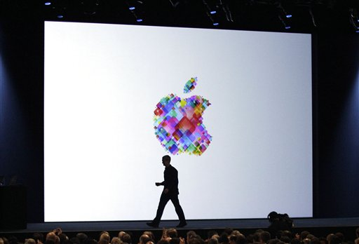 Apple CEO Tim Cook walks on stage during the Apple Developers Conference in San Francisco in this June 2012 photo.