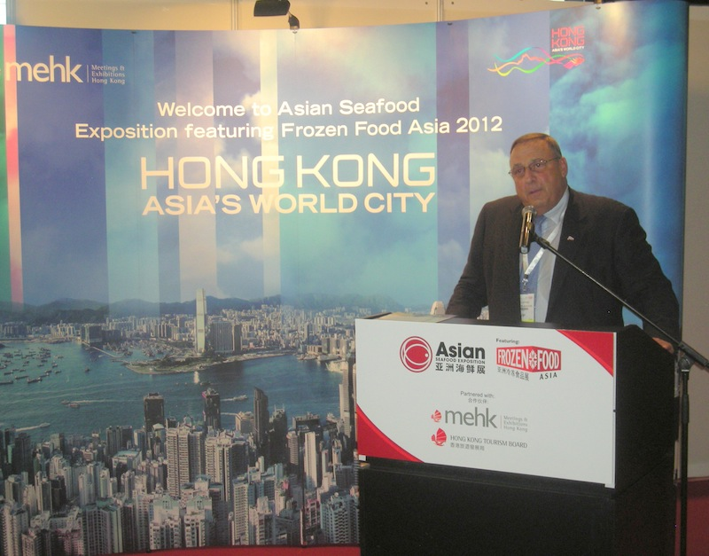 Gov. LePage speaks at the Asian Seafood Exhibition in Hong Kong on Tuesday, Sept. 11 to promote Maine's seafood products.