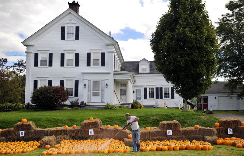 THE BIG PATCH: Jeremy Burbank washes pumpkins Monday for sale along the road at his family's farm in Vassalboro. Burbank, his wife, Lora Lei-Burbank, and their seven children cultivated approximately 1200 of the decorative gourds this season at Oak Grove Farm.