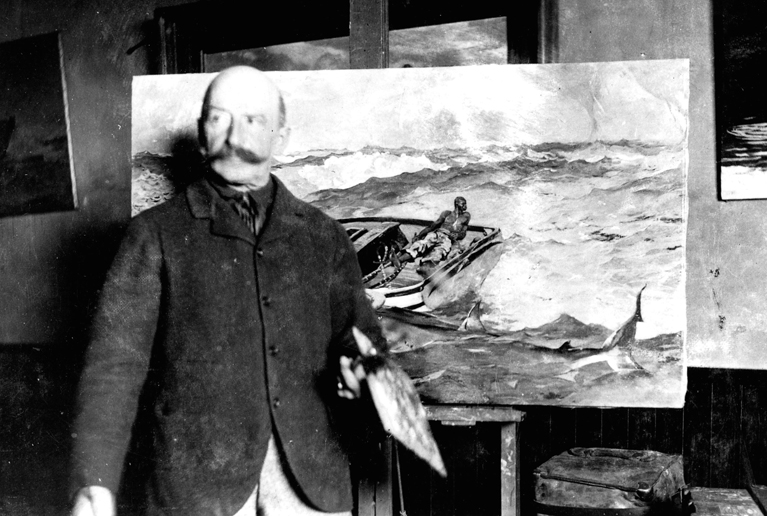 """Winslow Homer with """"The Gulf Stream,"""" in his painting room at Prouts Neck, in Scarborough, circa 1900."""