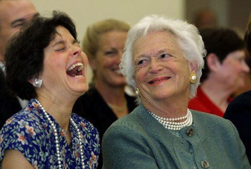 Former First Lady Barbara Bush, right, shares a laugh with former Maine First Lady Mary Herman, left, in this June 2001 file photo. Angus King's campaign is blasting a conservative website's attack on Ms. Herman, his wife, as crossing the line. (AP Photo/Joel Page)