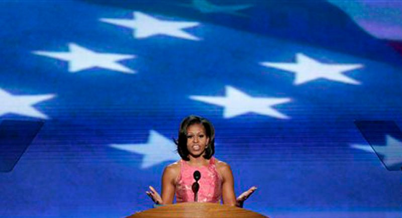 First Lady Michelle Obama address the Democratic National Convention in Charlotte, N.C., on Tuesday, Sept. 4, 2012. (AP Photo/J. Scott Applewhite)