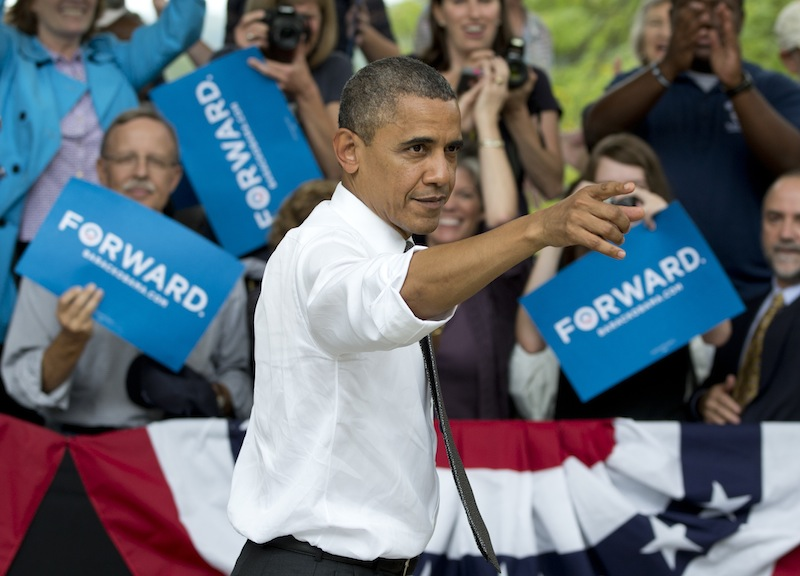 President Barack Obama points to the crowd as he leaves a campaign event at Eden Park's Seasongood Pavilion, Monday, Sept. 17, 2012, in Cincinnati, Ohio. (AP Photo/Carolyn Kaster)