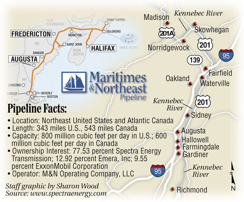 Kennebec Valley Gas Co. and the town of Madison have developed competing proposals to build a natural gas pipeline in central Maine. The route proposed by Kennebec Valley Gas Co. is shown at right. Both plans call for connecting the new pipeline to one operated by Maritimes & Northeast, at left.
