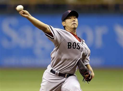 Boston Red Sox starting pitcher Daisuke Matsuzaka, of Japan, delivers to the Tampa Bay Rays during the first inning of a baseball game Wednesday, Sept. 19, 2012, in St. Petersburg, Fla. (AP Photo/Chris O'Meara) Tropicana Field