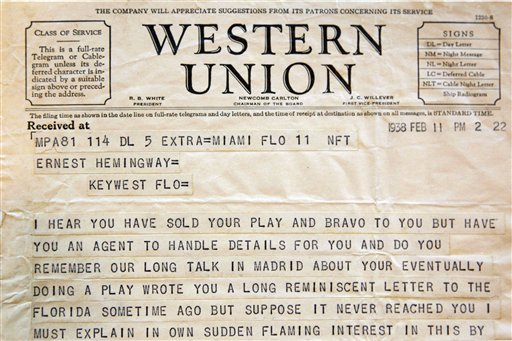A telegram sent to Ernest Hemingway from American theater producer Jean Dalrymple in 1938, a part of the Hemingway collection at the John F. Kennedy Library and Museum in Boston The Associated Press
